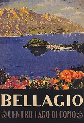 CENTRO LAGO LAKE DI COMO BELLAGIO EUROPE ITALY ITALIA VINTAGE POSTER REPRO