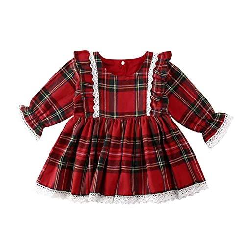 Holatee Vestido de Princesa con Volantes de Encaje,Vestido a Cuadros con Estampado de Cuadros Rojos de Navidad para niña Manga Larga (Rojo, 2-3 años)