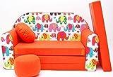 PRO COSMO F9Kinder Sofa Bett mit Puff/Fußbank/Kissen, Stoff, Orange, 168x 98x...