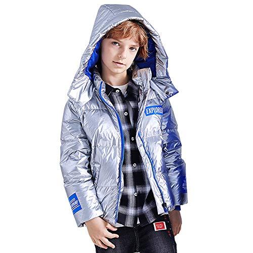 LSHEL Chaqueta de plumón para niña, abrigo de invierno para niño, chaqueta de invierno con capucha, abrigo grueso de invierno plata 116 cm