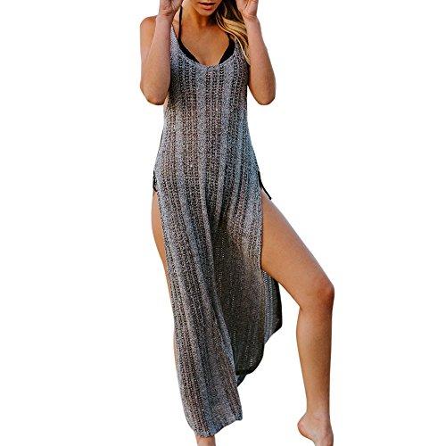 Elegante Kleider Damen Kleid Cocktailkleider Ronamick Frauen Sexy Häkeln Strand handgemachte vertuschen Wickelkleid Bikini Kittel lang(M, Grey)