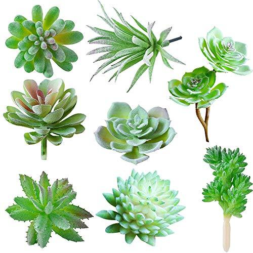 JUSTDOLIFE Suculenta Artificial Decoracion, 8 Pieza, Cactus Artificiales Decoracion, Adecuado para El Hogar Oficina Decoración Jardín Baño Cocina Balcón Planta Falsa Decorativas