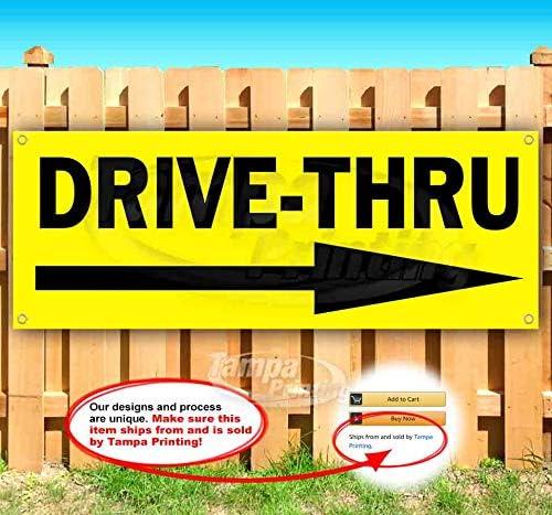 Drive-Thru 13 oz Banner Vinyl Single-S Cheap bargain Heavy-Duty Non-Fabric unisex