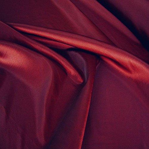 TOLKO Kleider-TAFT als Modestoff/Dekostoff | edel Changierend und glänzend | Stoff zum Nähen und Dekorieren | Blickdicht, knitterarm | Meterware 148cm breit (Bordeaux)