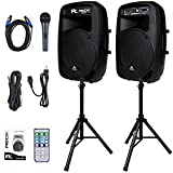 Proreck Dance 15 Portable 15-Inch 2000 Watt 2-Way Powered PA Speaker System Combo Set with Bluetooth/USB/SD Card Reader/FM Radio/Remote Control/LED Light