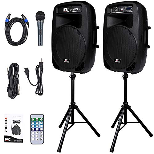 Proreck Dance 15 Portable 15-Inch 2000 Watt 2-Way Powered PA Speaker System Combo Set with...