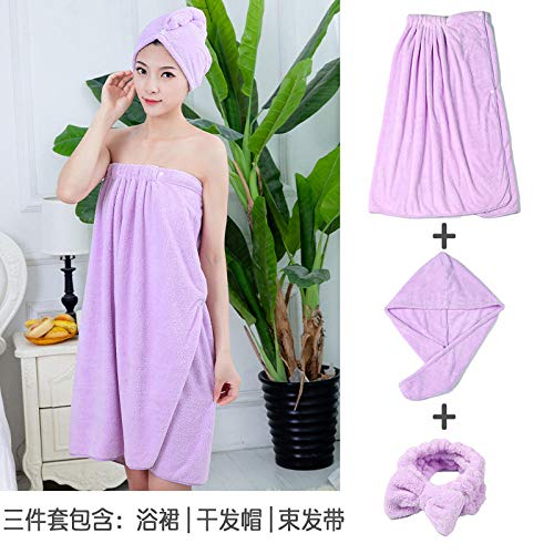 Bath Towel Large Bath Skirt, Beauty Salon, Tube Top, Bath Towel, Women Can Wear, Can Be Wrapped In Household Water Absorption And Quick-Drying Without Shed Hair-Three-Piece Purple Bath Skirt + Dry Ha
