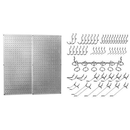 Wall Control 30-P-3232GV Galvanized Steel Pegboard Pack & Hiltex 53106 Pegboard Hooks Organizer Accessories Set, 50 Piece | Chrome Plated Assortment