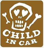 imoninn CHILD in car ステッカー 【マグネットタイプ】 No.31 ガイコツさん (ゴールドメタリック)