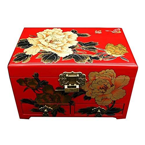 ZZCC Caja de joyería de, Madre de Pearl Butterfly Asiáticas Laca de Madera Rojo Joyería de Madera Treasure Treasure Regalo Cajón de Joyero Caja, Caja de joyería de Laca Pintada