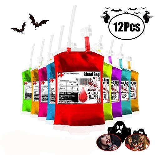 Yol0 - Contenedor para Bolsas de Sangre para Bebidas de 11,5 onzas, 12 Unidades, diseño de Halloween con Embudo Reutilizable y empaque aséptico
