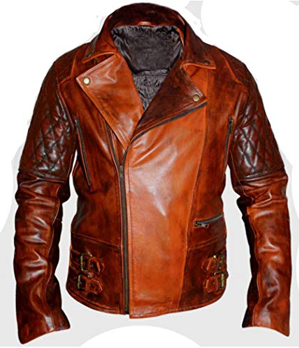 Leatherly Men's Jacket Cafe Racer Vintage Distressed Brown Biker Style Genuine Leather Jacket-m