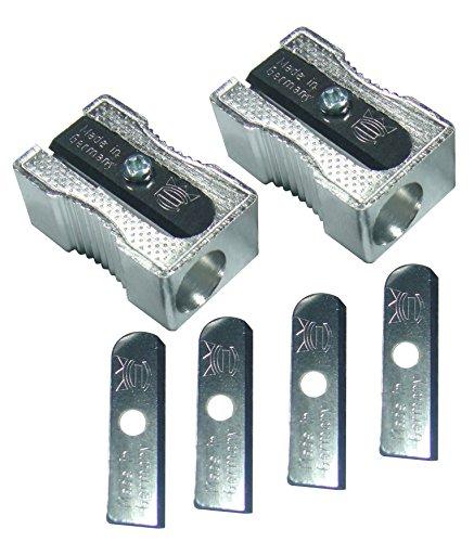 C-color Aluminum Pencil Sharpener 2 Pcs,blades 4 Pcs,with Plastic Cover
