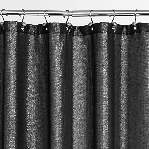 Duschvorhang mit Glitzersteinen, für Badezimmer, 180 x 183 cm, Schwarz
