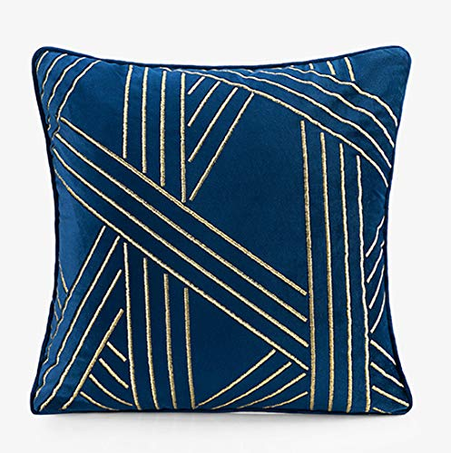 ZUODU Blue Velvet Cushion Cover Navy Embroidery Cushion Cover Pillowcases Sofa Cushion Covers Protectors for Home Decorating Bedroom Living Room 18x18 Inches(C)