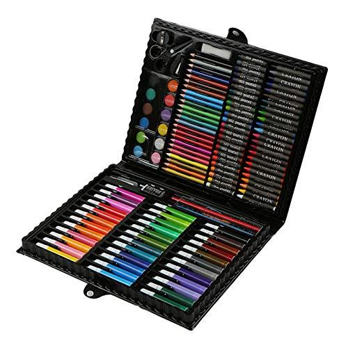 Aibecy 150pcs Conjunto de Dibujo de Arte Pintura para Niños Herramientas de Dibujo Color de Agua Pluma Cera Crayon Aceite Pastel Dibujo Lápices Pincel Estudiantes Papelería Suministros Niños Regalos