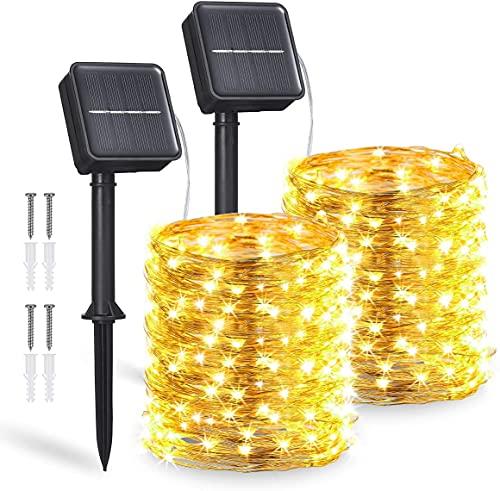 Guirnaldas Luces Exterior Solar,2 Pack 12m 120LEDs Luces Solares LED Exterior Jardin con IP65 Impermeable y 8 Modos,Cadena de Luces Led Decorativas para Navidad,Fiestas,Bodas(Blanco Cálido)