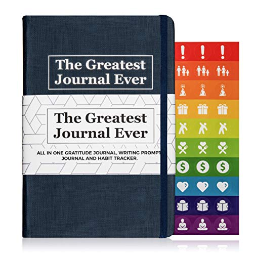 Daily Writing Journal For Men & Women. Best Self Care Journal, Gratitude Journal, Guided Journal, Writing Prompt Journal, & Inspirational Journal For Mindfulness, Happiness & Positivity. Blue Diary.