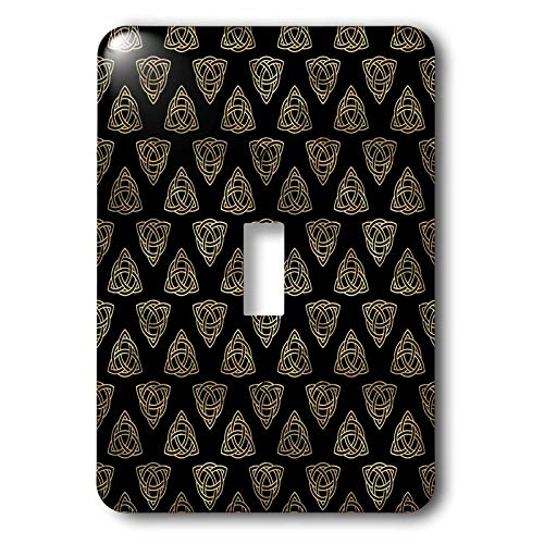 3dRose Black and Image Of Gold Celtic Triangle Knots Pattern - Light Switch Covers (lsp_335916_1)