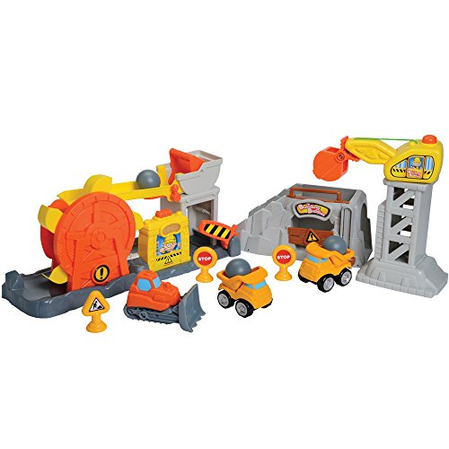 Constructive Playthings Rock Quarry 10 pc. Playset with 3 Chunky Vehicles,