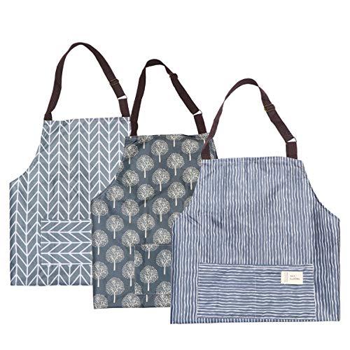 IMIKEYA Avental de cozinha impermeável com 3 peças, avental de pintura artística, para cozinha, casa, churrasco, desenho, artesanato, pintura, tarefas domésticas
