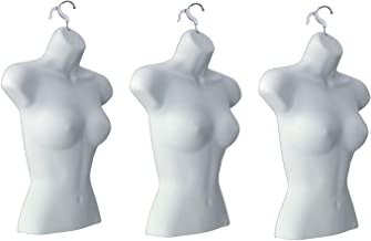 Only Hangers Set of (3) Female Torso Body Mannequin Forms (Waist Long) Great for Small and Medium Sizes, White Finish