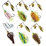6pcs Kit Spinner Leurres appâts de pêche Spinnerbait Pike Basse avec lames peint à...