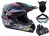 Casco de moto para niños Downhill, casco completo, casco de motocross MTB, casco de motocross, casco con gafas, máscara (A, S)