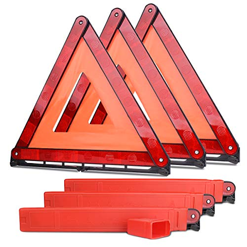 Lenmumu Safety Triangle Kit Road Emergency Warning Reflector Roadside Reflective Early Warning Sign, Foldable 3 Pack of Emergency Car Kit