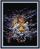 クロスステッチ大人、初心者11ctプレプリントパターン水中タイガー40x50cmDIYスタンプ済み刺繍ツールキットホームの装飾手芸い贈り物40x50cm(フレームがない )