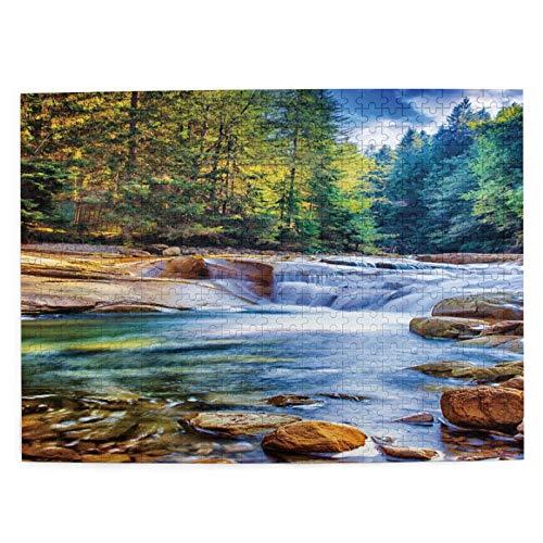 Adulto 500 Piezas Juego de Rompecabezas Hermosa cascada en el bosque, increíble corriente de agua rápida entre piedras, paisaje maravilloso, Juguetes Educativos Para Niños Decoración hogareña