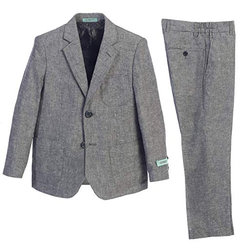 Gioberti Boy's Linen Suit Set Jacket and Dress Pants, Gray, Size 16