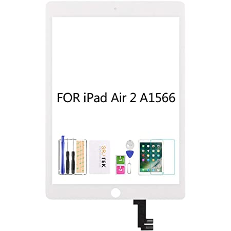 White Compatible with IPad Air 2st Touch Screen Digitizer Glass Replacement,for IPad Air 2st A1566 A1567 Touch Display Panel Repair Parts Kit,with Tempered Glass+Tools LCD Not Include