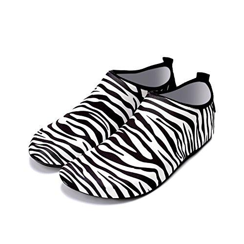 Lucdespo Badeschuhe, Badeschuhe, Eltern-Kind-weichen Boden im Freien Haut Badeschuhe, Schnorcheln Schuhe, schnell trocknend und atmungsaktiv,1941 Zebra Stripe, Schuhsohle 40-41 ist geeignet für 38-39