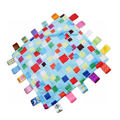 G-Tree Petit Tag Baby Blanket sensorielle, de la sécurité et Teething fermé Ruban de style Couleurs de sécurité Réconfortant Teether Blanket - coloré