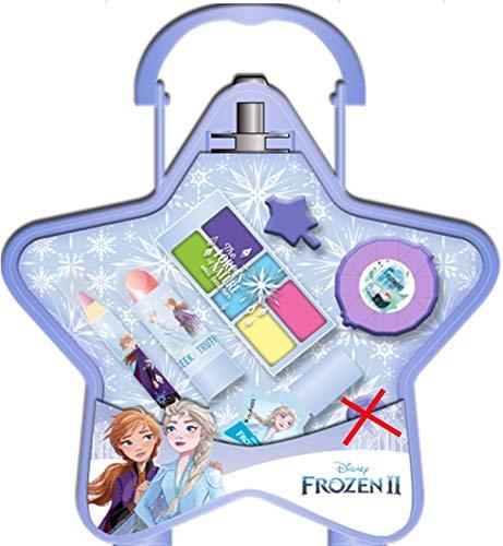 Frozen II Cute Vanity Case Star Shape Anna & Elsa Design with Water Soluble Kids Make-Up Lipstick Blush Eye Shadow Nail Polish Jewellery