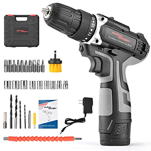 """SALEM MASTER Cordless Power Drill, 12V Power Drill 30Nm, 3/8"""" Keyless Chuck, 18+1 Clutch, 2 Speeds, 27 Pcs Bit, Built-in LED light, Compact Electric Screw Driver for Home Improvement & DIY Project"""