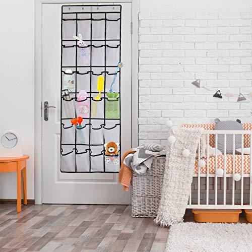 FWKTG Puerta Organizador de Zapatos Colgantes, Soporte de Zapatos de Malla 24 Bolsillos con 4 Ganchos for Puertas for baño de Armario de Dormitorio (Color : Beige)