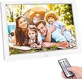 Cornice Digitale da 10 Pollici 1024x600 ad Alta Risoluzione, Photo/Music/Video, Calendario, Allarme, Cornice Foto Digitale Supporto USB e Scheda SD, Telecomando Bianco