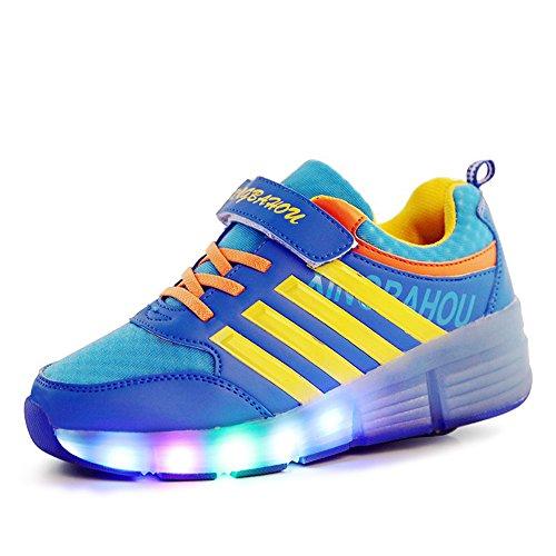 Good-time Kinder Junge Mädchen Led Schuhe Sneaker Mit Rollen 7 Farbe Farbwechsel Wheels Skate Schuhe(Blau,30 EU)