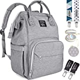 Diaper Bag by Dodo Babies + 2 Pacifier Clips + Pacifier Case, Multi-Function Waterproof Maternity Nappy Bags, Travel Backpack Large Capacity Excellent Baby Shower/Registry Gift