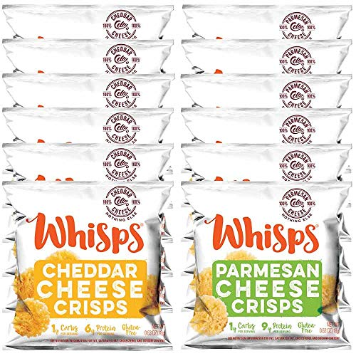 Whisps Cheese Crisps Single Serve 12 Pack Variety Pack |Back to School Snack, Keto Snack, Gluten Free, Sugar Free, Low Carb, High Protein| Parmesan and Cheddar (12 x 0.63oz)