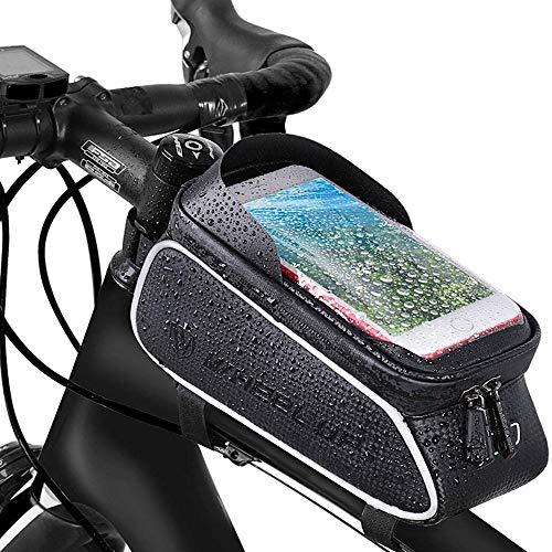 Borsa Telaio Bici, Impermeabile Borsa Telaio Bici Porta Cellulare, Borsa da Manubrio per Biciclette, Supporto Bici MTB, Mountain Bike Portacellulare per 6.5 Pollici