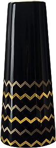 Hetoco 30cm Vase de Fleur Noir Or Céramique vases decoratifs Design Haut pour Maison, fête, Centre de Table de Mariage