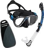 Cressi C/Set Big Eyes Evolution Alpha/UD - Kit de Snorkeling/Buceo, Unisex Niños, Negro/Azul, Talla Única