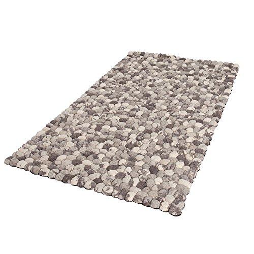 Invicta Interior Einzigartiger Teppich Organic Living 200x120cm grau Filz Steinoptik handgewebt Wohnzimmerteppich Wollteppich