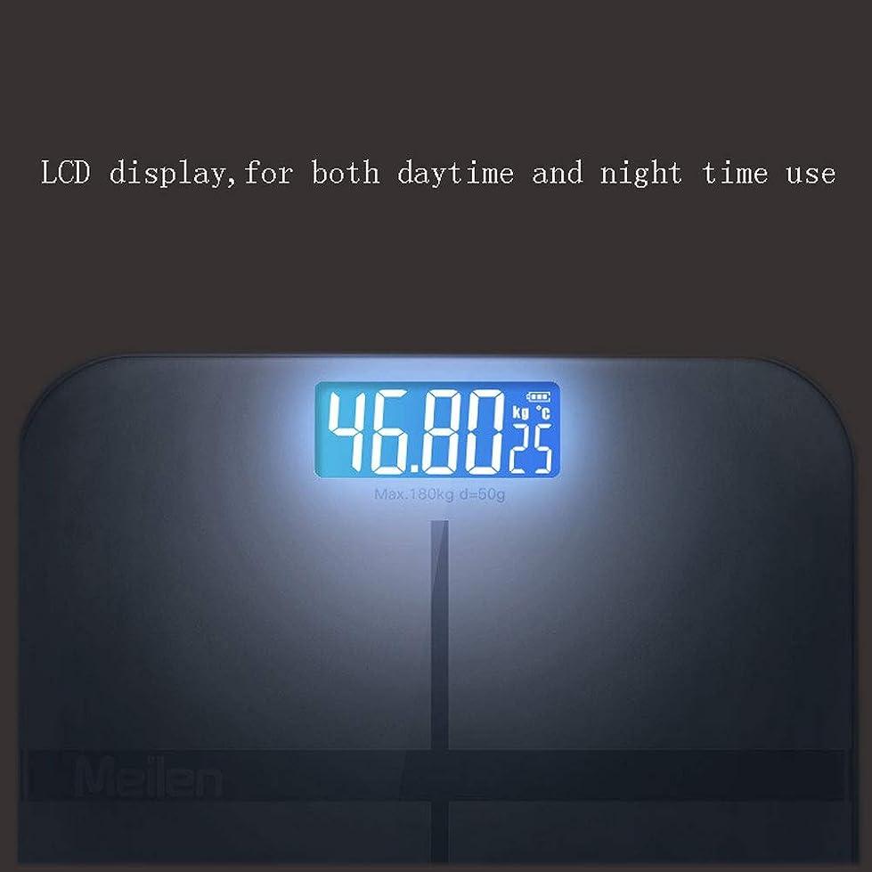 お別れ天の挨拶するスマートな電子はかり、USB充電式バックライト付きLCD大型ディスプレイ、スリムデザインのバスルームスケール、ステップオンテクノロジーボディを備えた 高精度スマートスケール,Black