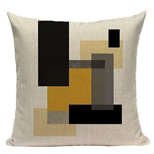 Funda de almohada de 55,8 x 55,8 cm, funda de cojín geométrica, decoración nórdica, funda de almohada de ciervo amarillo para almohada # 100