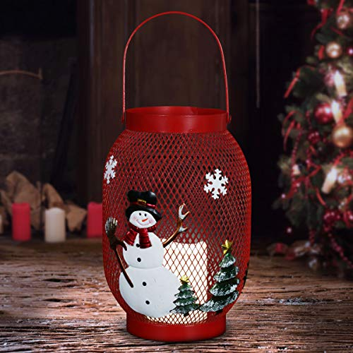 """Exhart Christmas Snowman Lantern w/LED Candle– Hanging Lantern for Patio w/Battery Powered Automatic Timer– Durable Metal & Hand Painted Art for Indoor/Outdoor Christmas Decor, (7.5"""" x 7.5"""" x 14.5"""")"""
