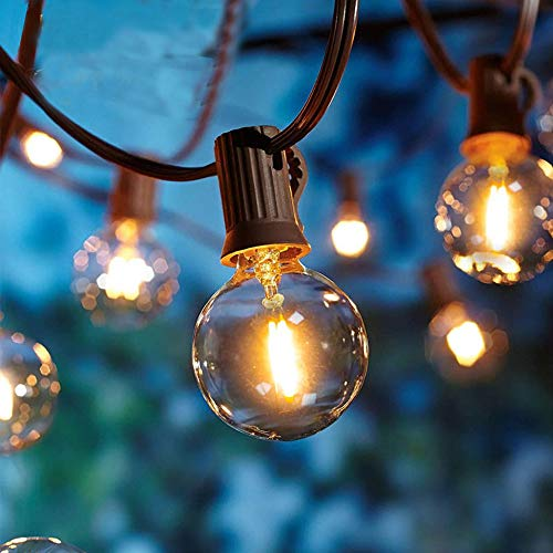 25FT G40 Globe String Lights, 25 Vintage Clear Bulbs, End to End Connectable, Waterproof Indoor Outdoors Patio Lights, Christmas Tree Decor Garden Porch Backyard Bistro Decorative, UL listed